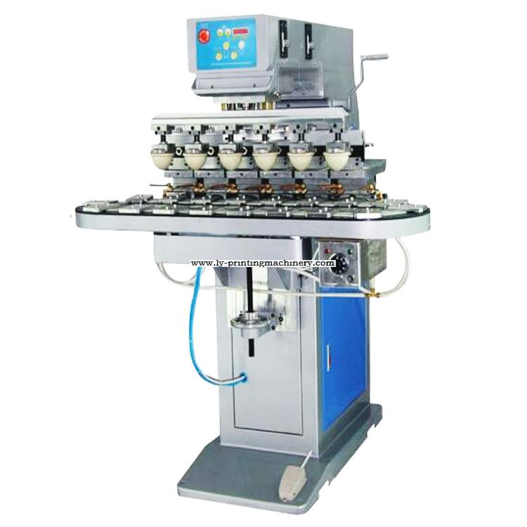 6 color ink tray tampo printer with conveyor