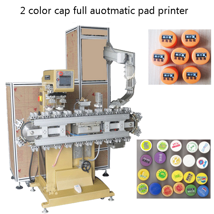 Cap 2 color full automatic pad printer with Tank conveyor