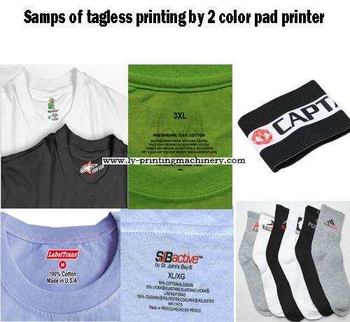 Garment tagless pad printer with pad moved