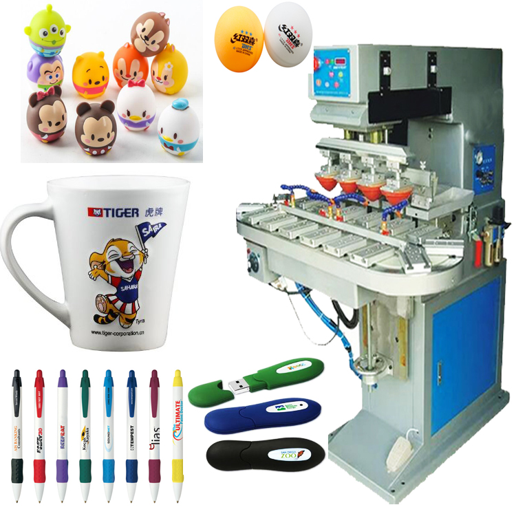 Promotional gift 4 color pad printer with conveyor